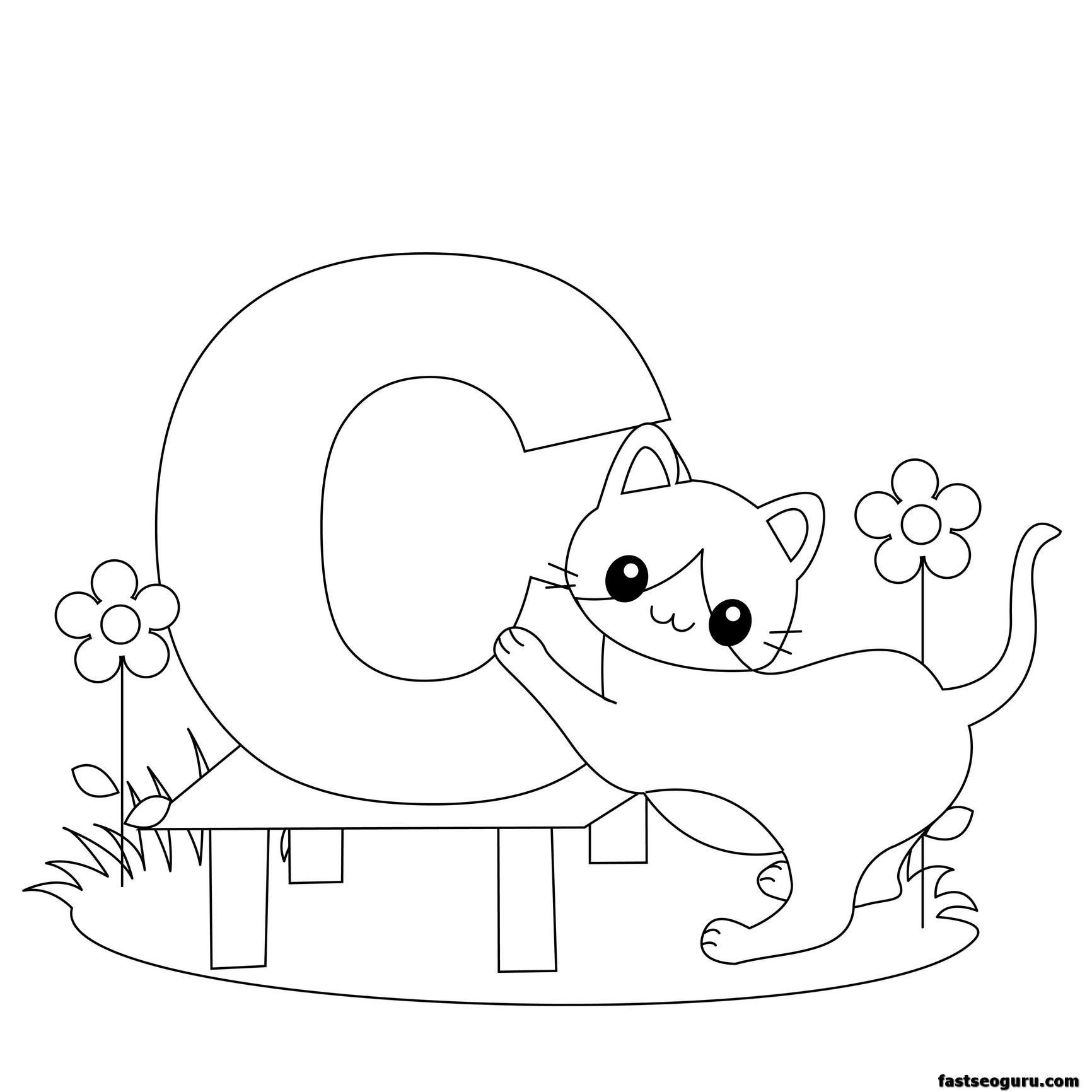 Printable Animal Alphabet Worksheets Letter C For Cat
