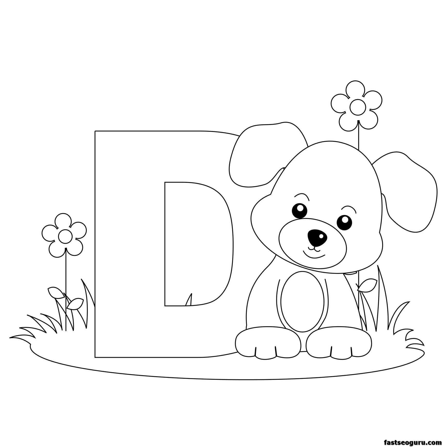 Printable Animal Alphabet Worksheets Letter D For Dog