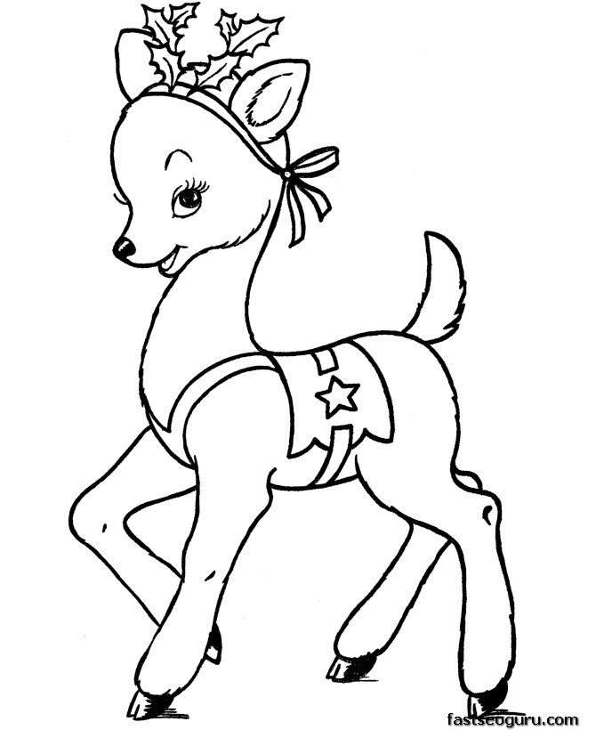 Printable coloring pages of Christmas Santas Reindeer