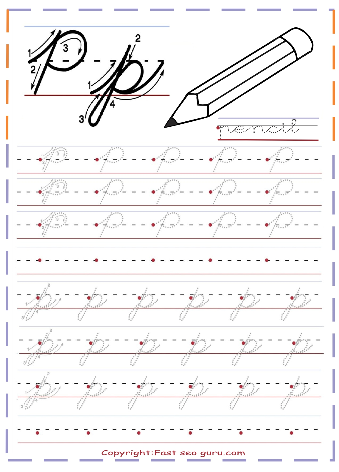 Cursive P Worksheet