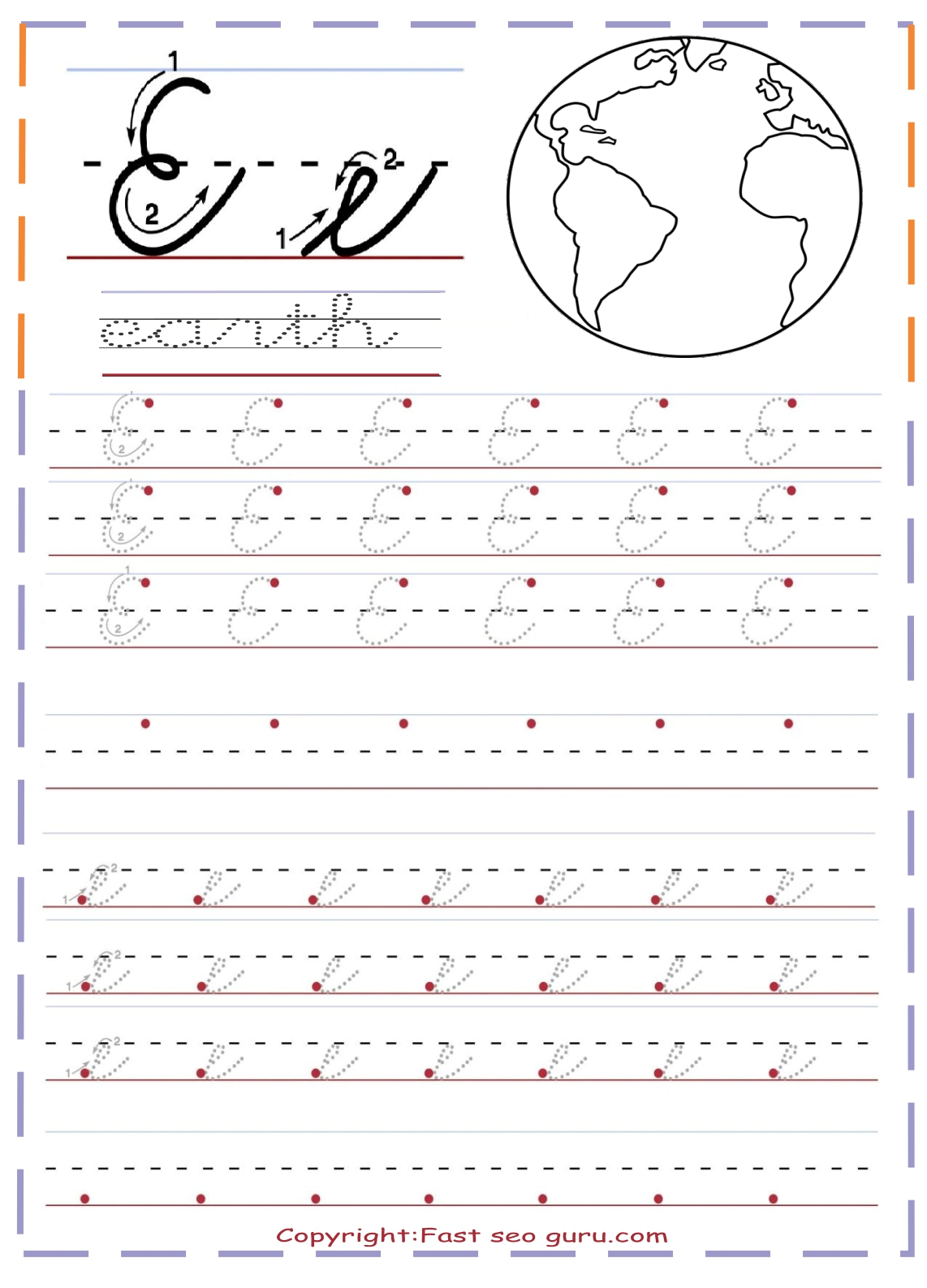 Cursive Handwriting Tracing Sheets For Practice Letter E