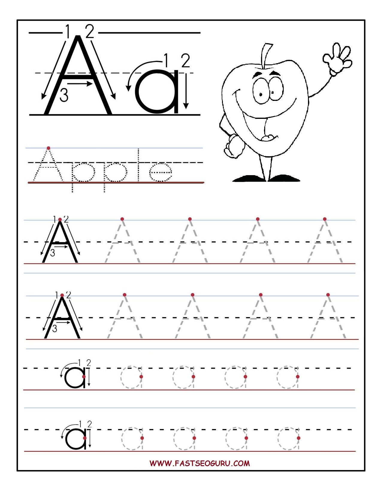 Printable Letter A Tracing Worksheets For Preschool
