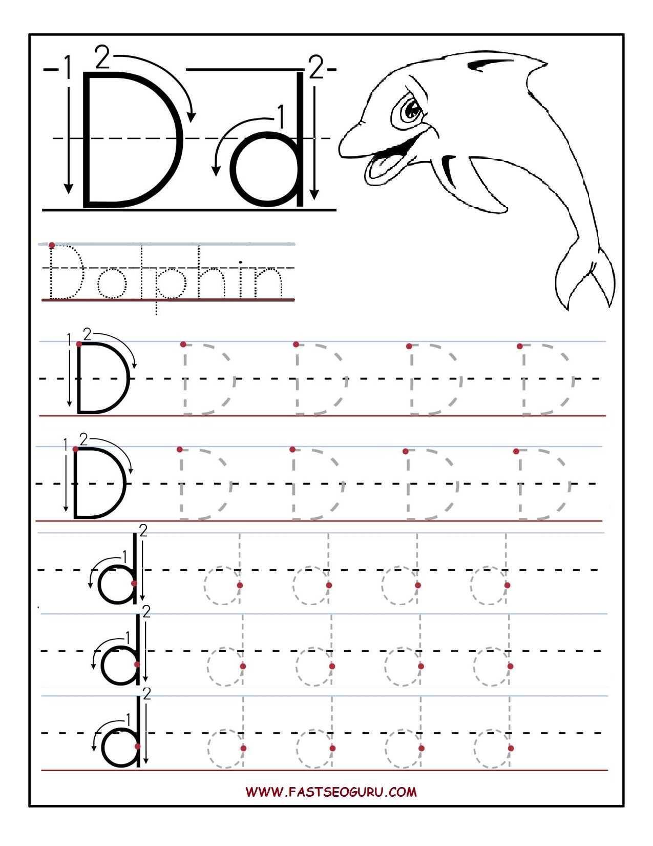 Tracing Worksheets Letter D And Printable Letters On