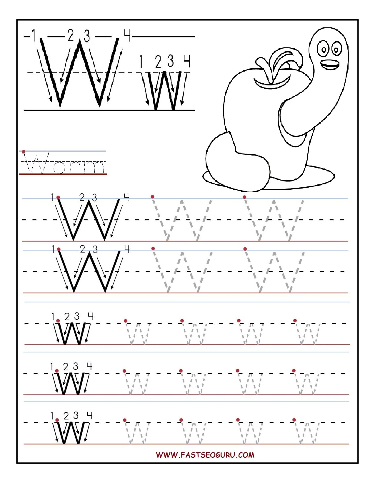 Tracing Worksheets Letter J And Printable Letters
