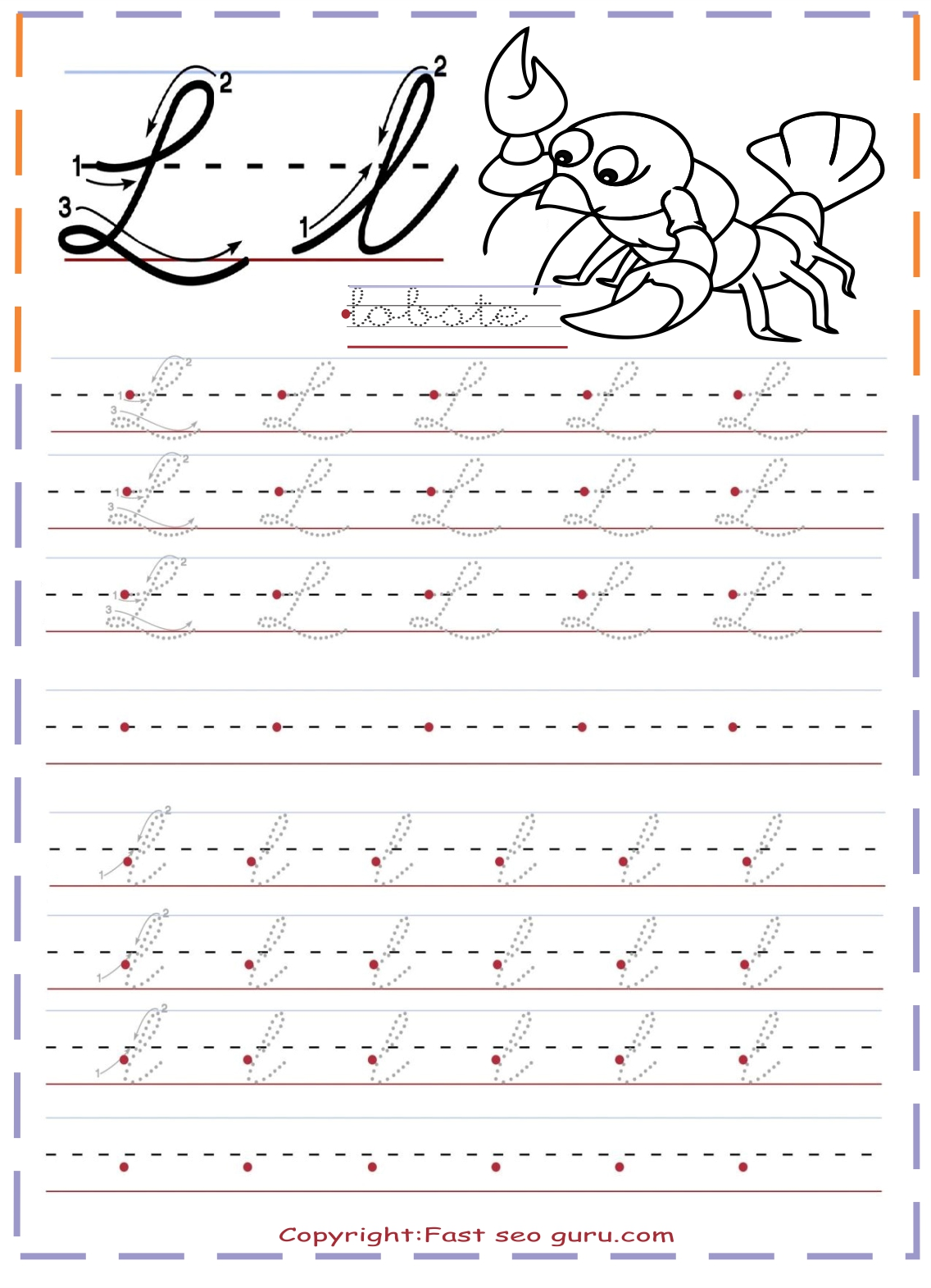 Cursive Handwriting Practice Tracing Worksheets Letter L
