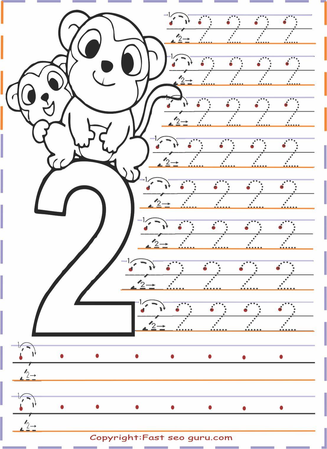 Numbers Tracing Worksheets 2 For Kindergarten