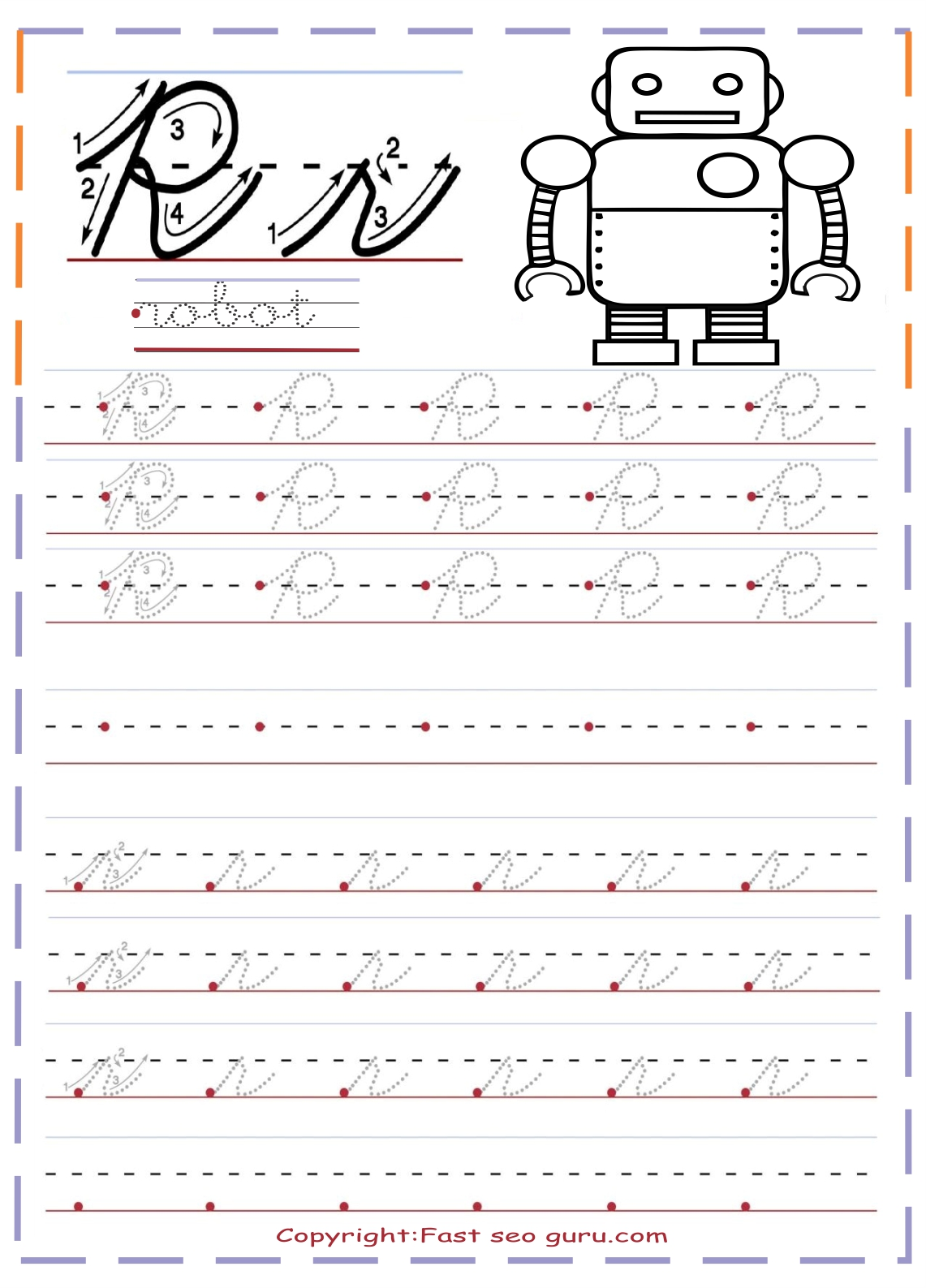 Cursive Handwriting Tracing Worksheets Letter R For Robot