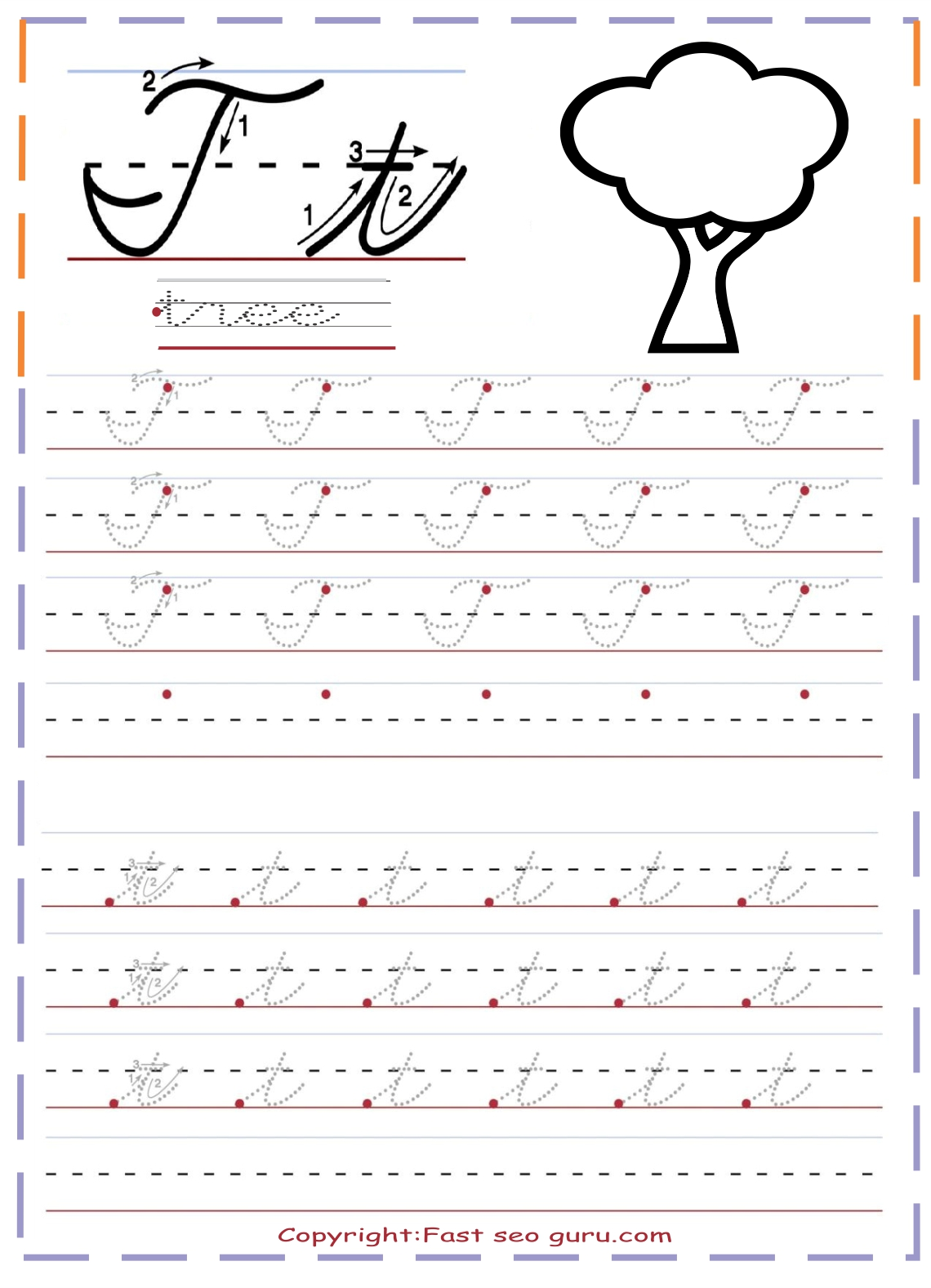 Cursive Handwriting Tracing Worksheets Letter T For Tree