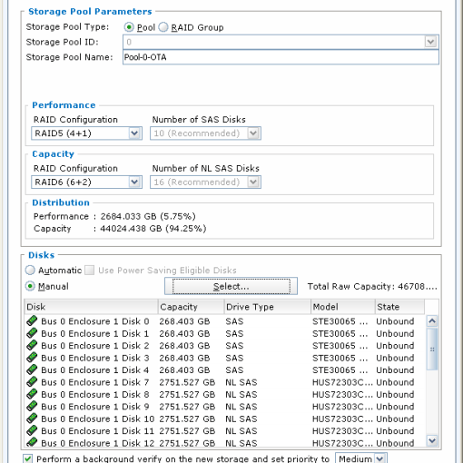 Create the storage pools, excluding the DAE 0_0 drives.