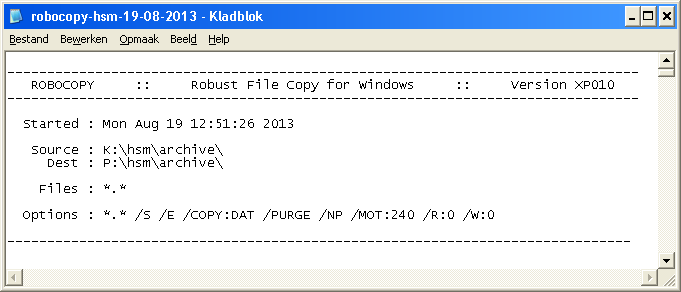 Robocopy logfile output during the PACS data migration