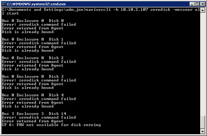 CLARiiON Data Erasure - zerodisk starting for all disks