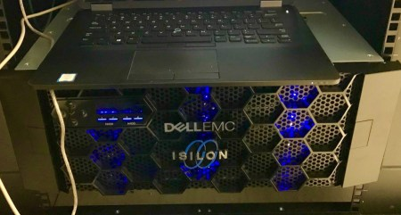 Isilon H400 chassis with serial cable attached