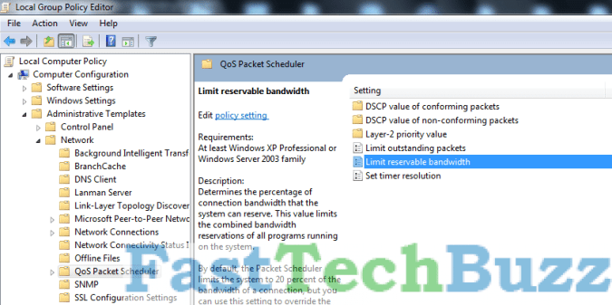 Limit Reservable Bandwidth