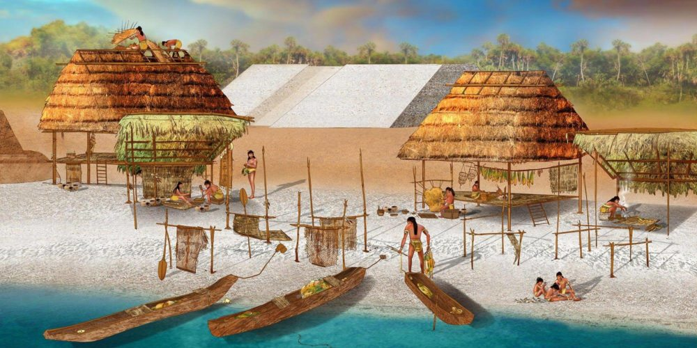artist interpretation-Crystal River-mound habitation