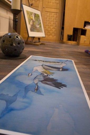 Duck des Kranich Aquarells - auf dem Weg nach Rügen - auf Hahnemühle Papier Albrecht Dürer (c) Frank Koebsch (4)