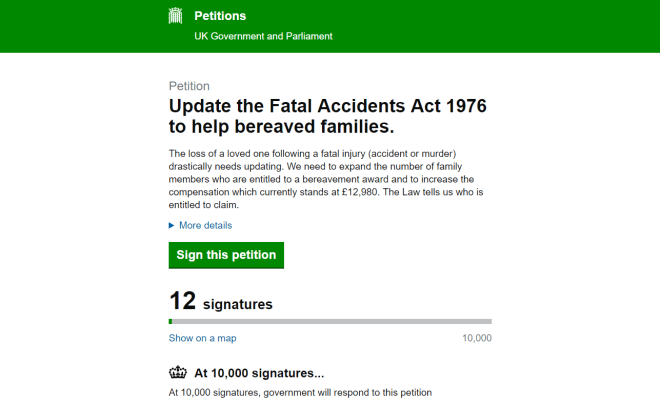 Government petition to expand the bereavement award entitlement