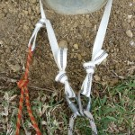 Retrievable anchor when abseiling on double ropes