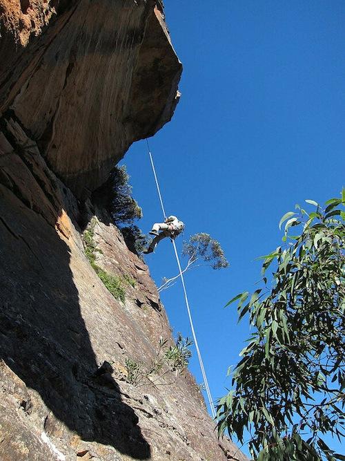 Trang abseiling the big overhang (photo Albert Chetcuti)