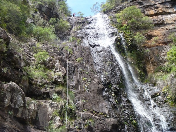 Helen on abseil two of Kalang Falls