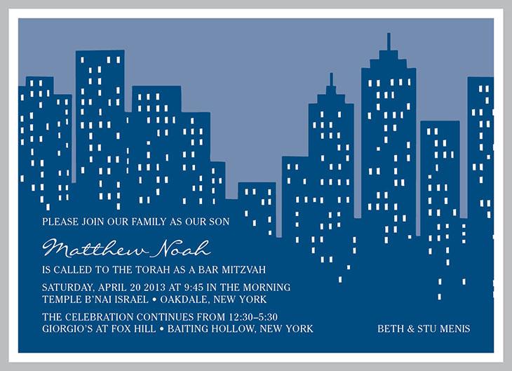 Mitzvah Market   Menis NYC Skyline Invitation