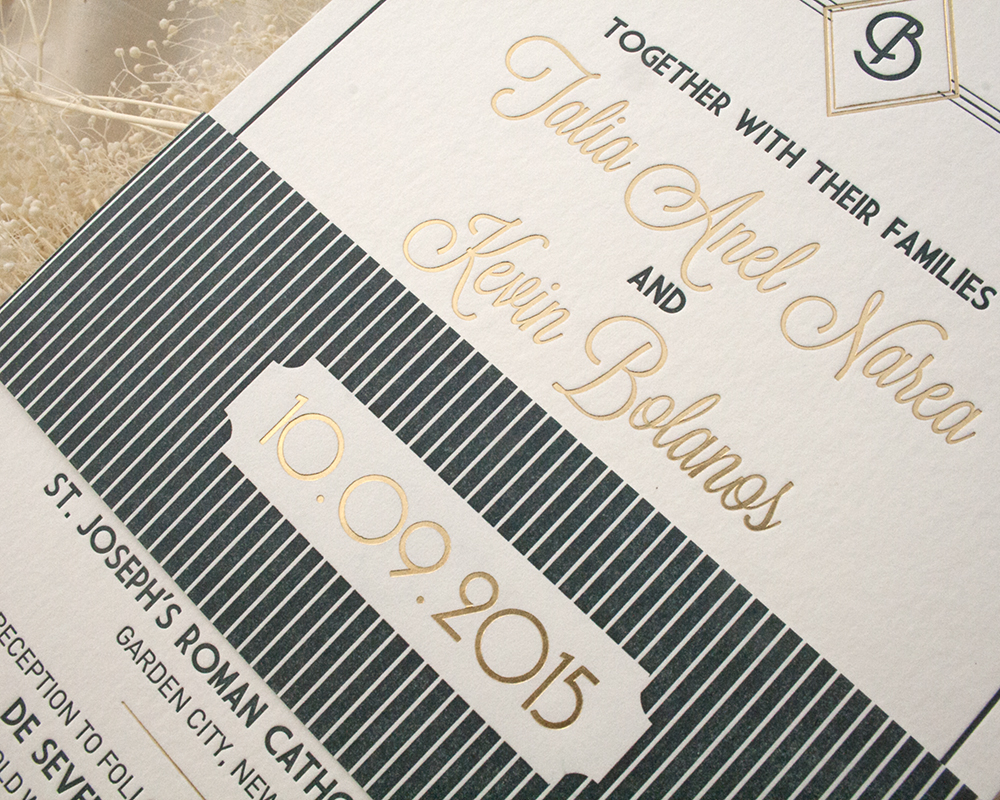 Talia and Kevin by Fat Cat Paperie, Deco Wedding Invitation, Letterpress and Foil