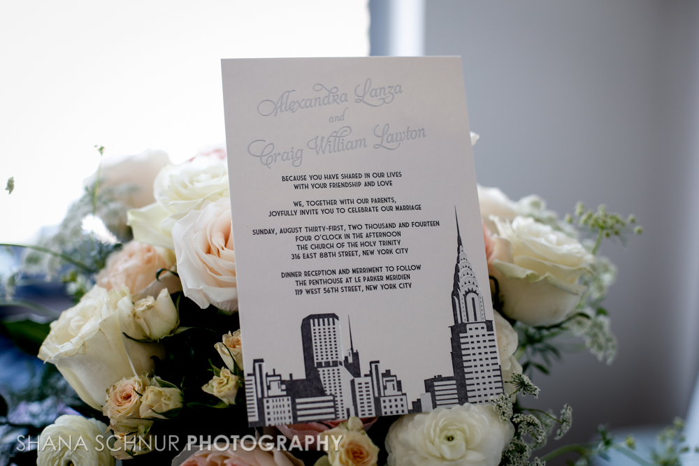 Alexandra + Craig, Chrysler Building wedding invitation, new york city skyline, NYC, in pewter foil and gray letterpress, deco style fonts