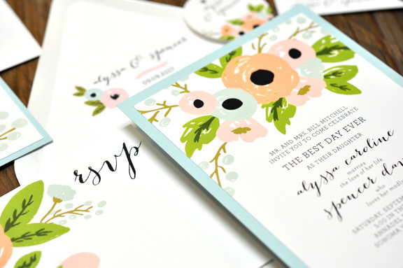 Alyssa by BTElements, Pastel color palette, Whimsical floral illustration, Aqua and white layered invitation, Calligraphy style fonts