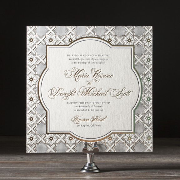 Amadore Antique by Bella Figura, vintage gold and navy wedding invitation, decorative frame and formal typesetting, calligraphy style font, square format