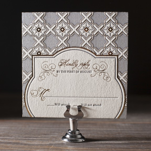 Amadore Antique by Bella Figura, vintage gold and navy reply card