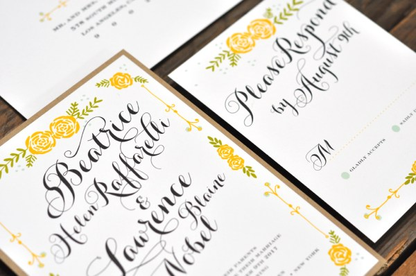 Beatrice by BTE, Invitation with yellow roses and whimsical typesetting