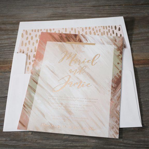 BellaFigura, Brushwork Invitation with Foil Liner
