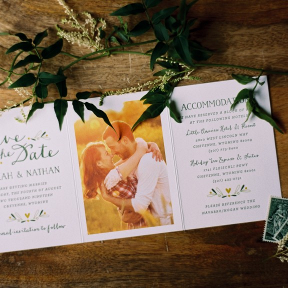 Chaplet by Bella Figura, whimsical illustrated save the date with leaf and heart details, photograph, trifold style white whimsical hand drawn style fonts