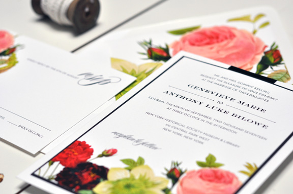 Genevieve by BTElements, Bold floral invitation, Flat printed with red, pink and green florals, Classic typesetting and black ribbon detail, vintage floral envelope liner