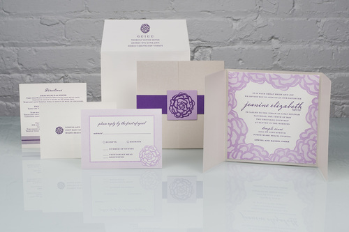 Jeanine by Spark, Floral mitzvah invitation, Gatefold with purple bellyband and floral tag, Purple and lavender color palette