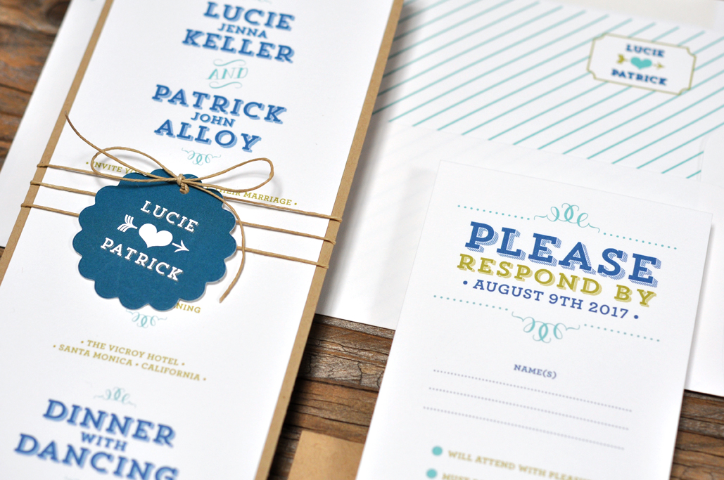 Lucie by BTElements, Whimsical wedding invitation with fun typesetting, Slab serif typesetting, Scalloped tag with heart and arrow detail wrapped around invitation with twine, layered white and kraft papers, striped envelope liner