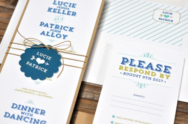 Lucie by B.T.Elements, Invitation with fun typesetting and twine and tag detail