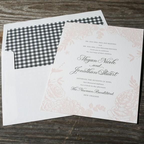 Lush Garden by Bella Figura, floral letterpress invitation with gingham envelope liner