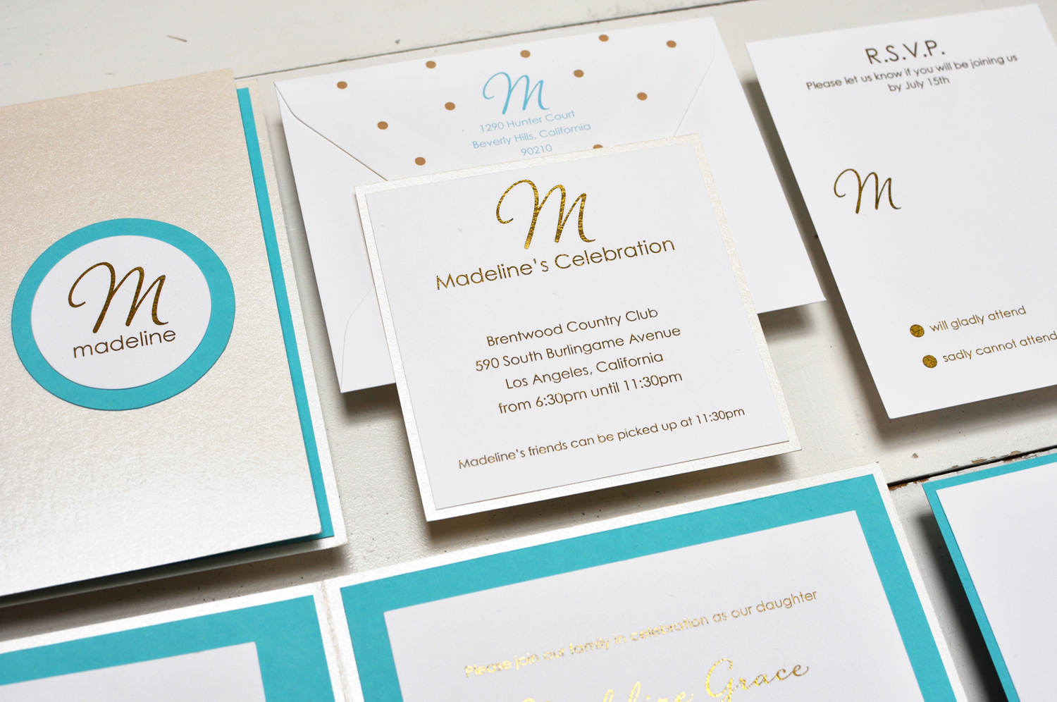 Madeline by B.T.Elements, Glitter Mitzvah Invitation, Shimmer pocket with teal and gold accents, Monogram and polka dot details, Gold glitter text