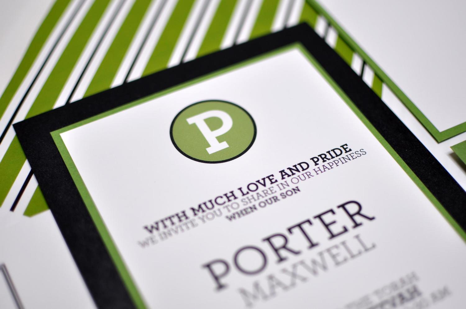 Porter by B.T.Elements, layered mitzvah invitation, clean typesetting with slab serif fonts and monogram, black green and white layered paper, striped envelope liner