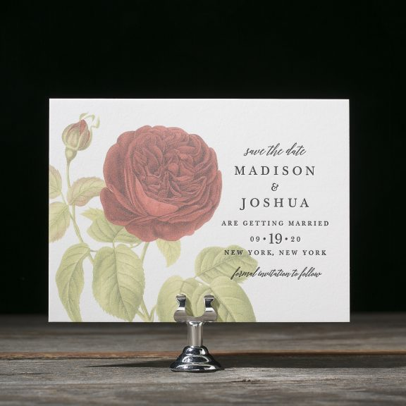 American Beauty by Bella Figura, classic, traditional letterpress save the date with red floral detail