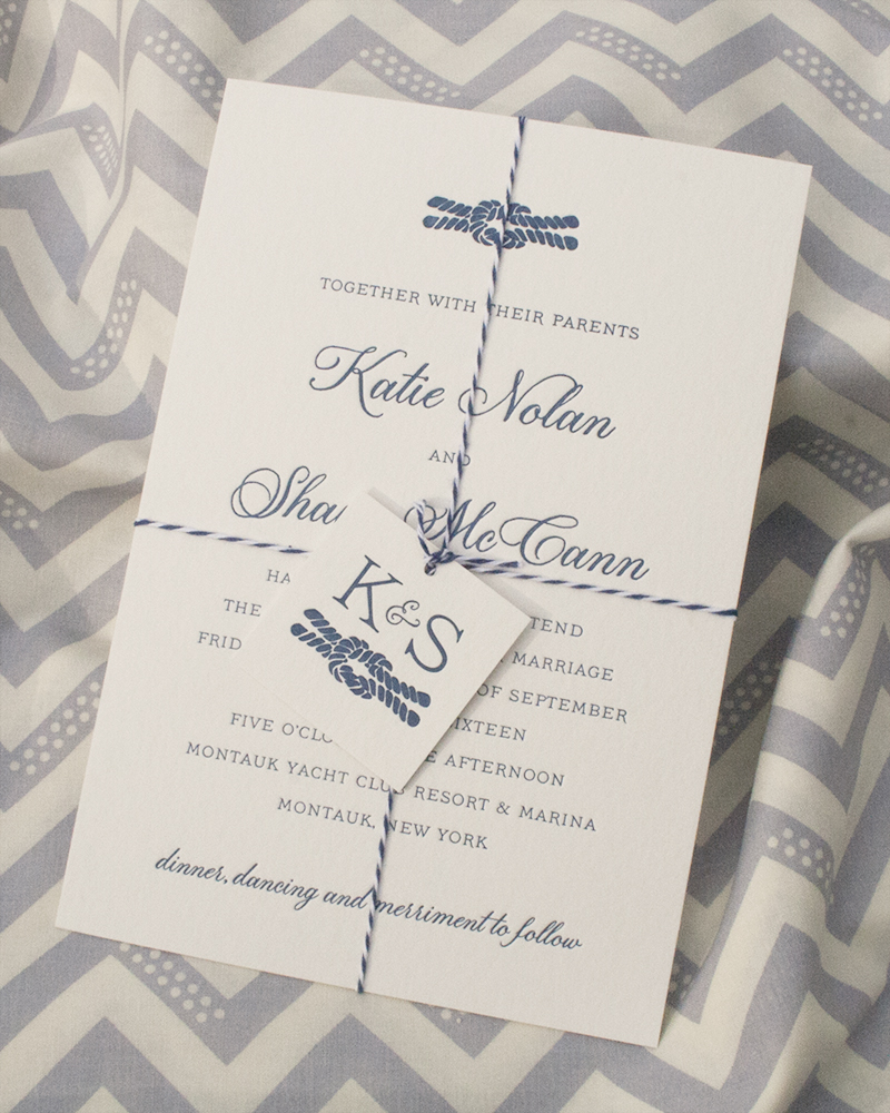 Katie + Shaun Invitation, Letterpress, Nautical, Twine + Tag