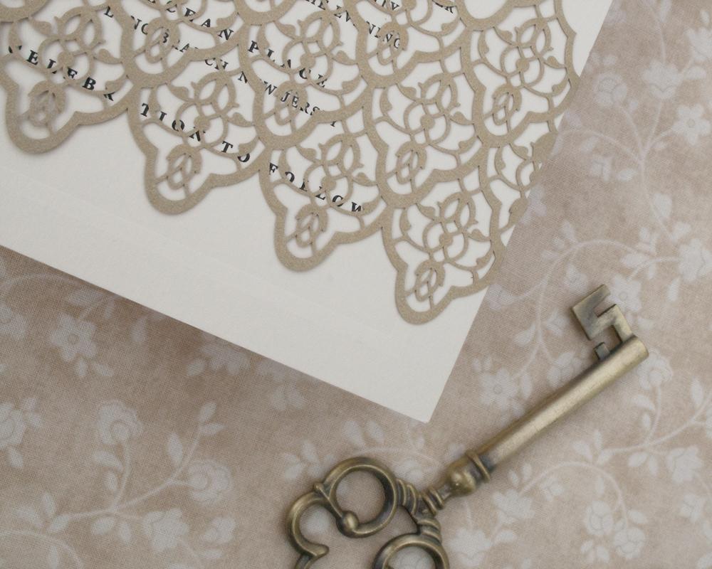 Detail of Gold Lasercut BellyBand, decorative vintage detail