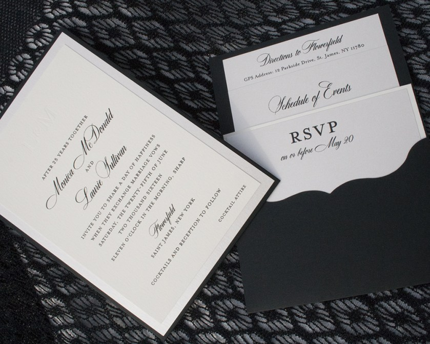 Laurie + Monica, Pocketcard wedding invitation