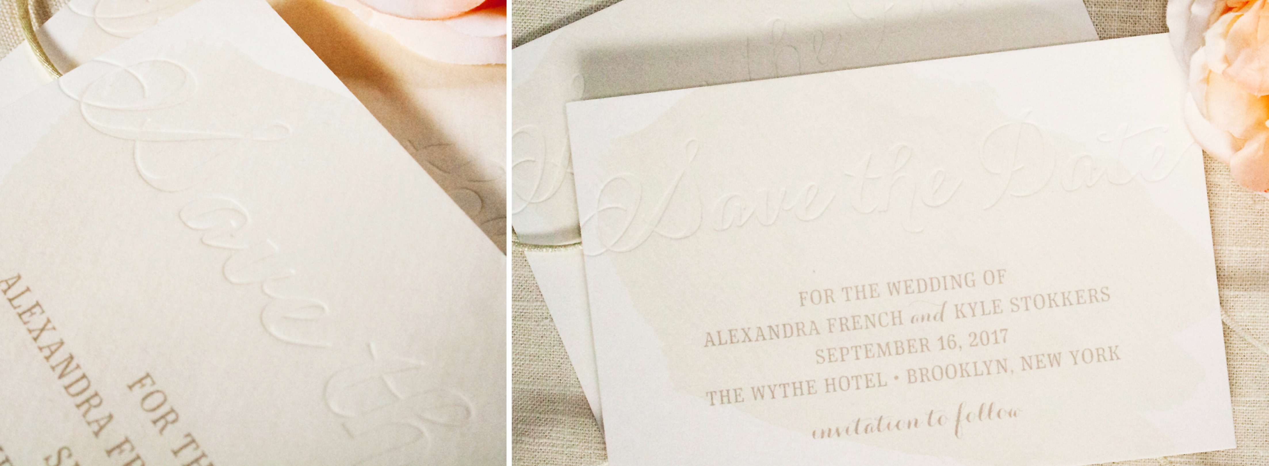 Watercolor Save the Date, Taupe Watercolor Wash with Blind Deboss Printing