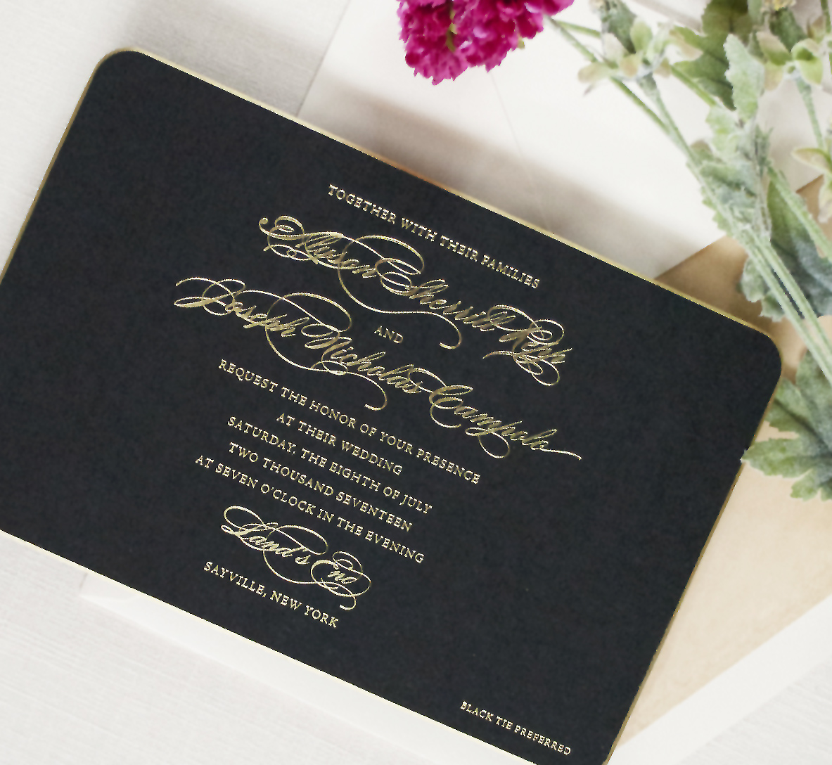Formal Black and Gold Wedding Invitation, Foil text on black paper, gold gilded edge