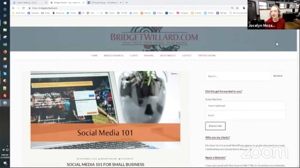 Jocelyn Mozak's review of Bridget's site