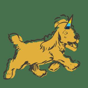 Illustration of a Cocker Spaniel running unicorn