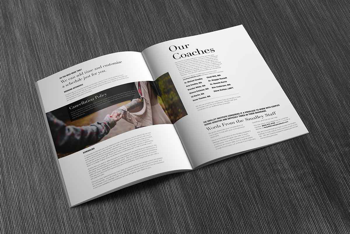smalley institute's magazine spread mockup