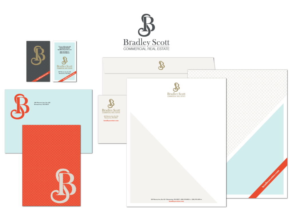 Bradley Scott Commercial Real Estate rebrand and rebranded documents