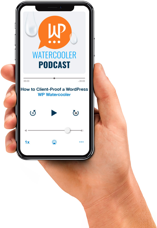 WP Watercooler podcast app on an iphone